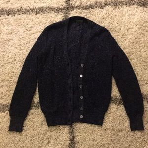 J.Crew Navy Sparkle Ribbed Cardigan Small
